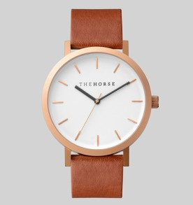 THE HORSE | Brushed Rose : Walnut Leather Watch FACTORY OF FASHION
