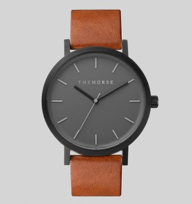 THE HORSE | Matte Black : Tan Leather Watch FACTORY OF FASHION