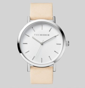 THE HORSE | Polished Steel : White Face : Vegetable Tan Watch1