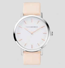 THE HORSE | Polished Steel : White Face with Rose Gold Indexing Watch 1