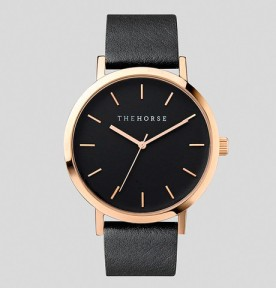 THE HORSE | Rose Gold : Black Face : Black Leather Watch FACTORY OF FASHION
